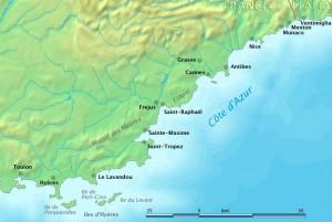 Udklip - Cote d'Azur kysten KORT